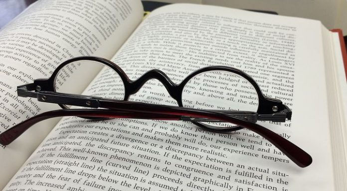 eyeglasses and a book
