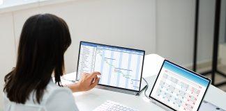 Employee using timesheet software