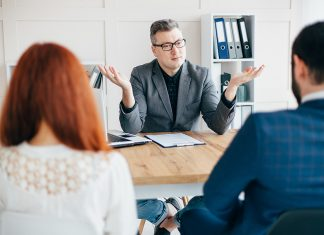 Couple during a meeting with the best divorce lawyer in Sydney